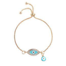 Blue Crystal Evil Eye Bracelets Femmes Filles Or Couleur Strass Perle En Métal Charme Chaîne De Lien Gland Bijoux Bracelets Bracelets ? partir de fabricateur