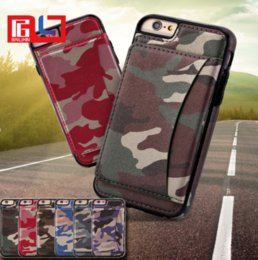 Wholesale Wholesale Camouflage Iphone Cover - Army Camo Wallet Case Fashion Luxury Multifunction Camouflage PU & TPU Card Solt Stand Cover For iPhone 8 8Plus Samsung S8 Note 8
