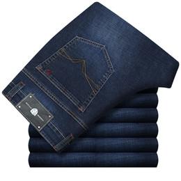 Wholesale Men S Dress Jeans - 29-45 Big Size Autumn Fashion Dresses Homme Classic Business Baggy Elastic Jeans Men Middle Waist Cotton Breathable Jeans XNN55