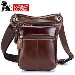 665412ee6f184 2019 echtes leder männer taille taschen LAOSHIZI Männer echtes Leder  Messenger Bags Vintage Hüfttaschen Tasche Motorrad