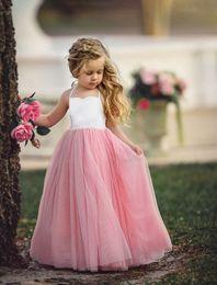 Wholesale Cotton Voile Dress - 2018 INS White Cotton Tops Pink Voile Patchwork Dress Summer Clothes Sleeveless Halter Mesh Wedding Party Princess Dress