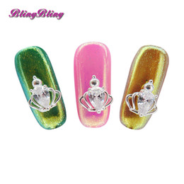 Canada 1 pcs Couronne Cristal Nail Strass Design De Mariage Nuptiale Conception Diamand Strass Nail art 3D DIY Bijoux Ongles cheap nails bridal Offre