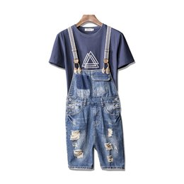 ca6d8d56e1d MORUANCLE Men Ripped Denim Bib Overall Shorts Fashion Distressed Short  Suspender Jeans Pants For Man Jumpsuit Romper Size S-3XL short ripped jeans  for men ...