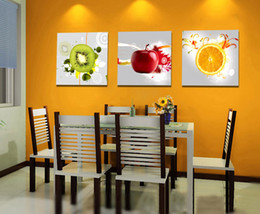 Wholesale Large Decorative Picture - Framed Unframed Large Wall Art Decorative Fruit Painting Print Canvas Picture Modern Dinning Room Home Decor 3 pieces Set Bedroom Decor P83