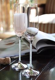 Argentina Copas de champán cristalinas que brindan flautas en par con una base de facetas de cristal y un tallo de diamante brillante como regalo de boda Suministro