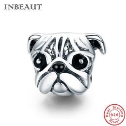 material para hacer pulseras al por mayor. Rebajas INBEAUT Lindo Shiba Dog Beads 925 Sterling Silver Black Zircon pavimentada NoseEye Pet Animal Charm fit pulsera regalo de boda