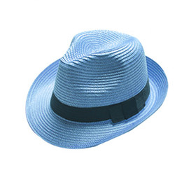 Wholesale Boys Fedora Hats Wholesale Straw - Fedora Trilby Gangster Cap Summer Beach Sun Topee Straw Panama Hat