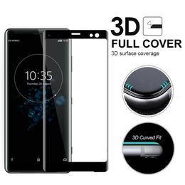 protectores de pantalla xperia Rebajas Cristal curvo de cubierta completa con curvas 3D para Sony Xperia XZ1 XZ2 XZ3 compacto XA3 XA2 Ultra Plus Protector de pantalla 9H Película protectora