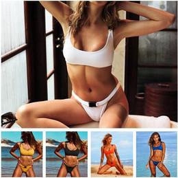 Biquíni azul alaranjado on-line-Sexy Fivela Corda Bikini Swimwear Mulheres Branco Amarelo Azul Laranja Preto Maiô Natação Terno para As Mulheres Verão Bikini Set Praia