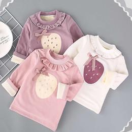 2019 vêtements supérieurs vêtements enfants filles tombent polaire ajouter flocage bébé filles chemisier rendre T-shirt fille sweatshirt vêtement supérieur sans doublure Plus velours promotion vêtements supérieurs