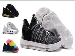 Wholesale Kd Shoes Kids - Sales KD 10 Oreo Black White men women kids shoes Store Kevin Durant Basketball shoes free shipping Wholesale prices 897815-001