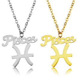 Wholesale Pisces Woman - Pisces Pendant Necklaces Twelve Constellation Stainless Steel Gold Plated Silver Luck Guard Women Jewelry Gift Stainless Steel Wholesale