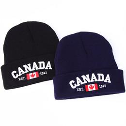 Wholesale hats wholesalers canada - VORON new winter Knit Caps CANADA Letter embroidery Cotton Knit Hat Unisex Baggy Beanie Hat Crochet Outdoor Cap