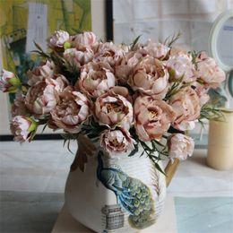 Wholesale Cheap Fake Flower Bouquets - Cheap Artificial Silk Flower European 1 Bouquet Vintage Silk Flower Fall Vivid Peony Fake Leaf Wedding Home Party Decoration