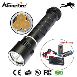 Wholesale Diver Diving Flashlight - AloneFire DV11 warm light 3 X CREE XML T6 LED Diving Flashlight Torch Waterproof 100m Diver torch Light yellow light for 26650 battery