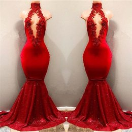 Wholesale Yellow Satin Skirts - 2018 Real Pictures Red Sexy High Neck Mermaid Sequined Skirts Prom Dresses With Hollow Out Front Lace Appliqued Beads Evening Gowns BA7962