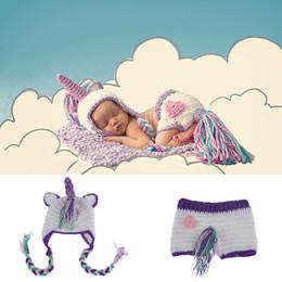 Crochet del cappello viola del bambino online-Neonate ragazze uncinetto maglia costume fotografia fotografia prop unicorno cappelli abiti pony cappello pantaloni viola