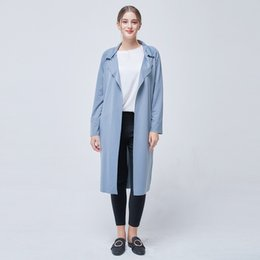 Корейский длинный плащ онлайн-Fall 2018 Women' Windbreaker X-Long Trench Coat For Women Wide-Waited Office Women Coat Korean Outerwear Clothe Casaco Feminino