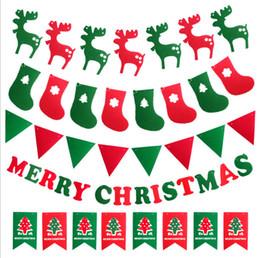 Merry Christmas Banner Ren Geyiği Çorap Noel Ağacı Bayrakları Mutlu Yeni Yıl 2018 Noel Süslemeleri Photo Booth Dikmeler Toptan dekorasyon nereden