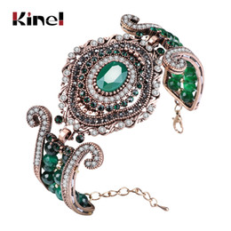 Wholesale Jewelry Turkey Gold Bracelet - Kinel Luxury Vintage Big Bracelet Green Natural Stone Crystal Beads Bangle For Women Fashion Antique Gold Turkey Jewelry Gift
