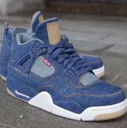 Wholesale Jeans Cut Man - 2018 Newest Jeans x Air Retro 4 IV NRG Blue Man Basketball Sneakers DENIM DENIM-SAIL-GAME RED VOILE ROUGE JEU AO2571-401 Athletic Shoes