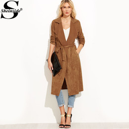 Sheinside Brown Suede Self Tie Duster Trench Coat manica lunga Wrap lungo esterno con cintura Donna Casual Autunno Inverno Workwear Coat S18101203 da