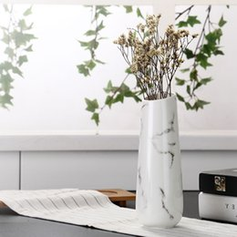 Wholesale Wholesale White Ceramic Vase - Wholesale-Marble flower inserted Ceramic White Tabletop Vase Home Decoration vase Fashion Modern vases