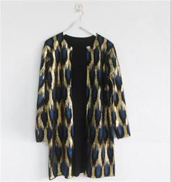 Cardigan largo de lentejuelas negro online-Trend Trend marca Mujeres Leopard Print sexy bronceado lentejuelas suéter prendas de vestir exteriores cuello redondo largo Cardigan Shinny negro oro mezcla de algodón