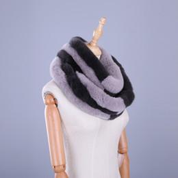 Wholesale Rex Rabbit Fur Wrap - 2017 Luxury Brand New Genuine Real Rex Rabbit Fur Women's Winter Warm Scarf Circle Scarves Patchwork Infinity Ring Snood Wraps