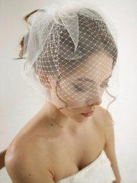 Rosto cobrir casamento véus on-line-Venda quente Camada Dupla Véu de Noiva Branco e Marfim Malha Curto Véus Gaiola de Casamento Tampas de Rosto Gaiola Acessórios Do Casamento