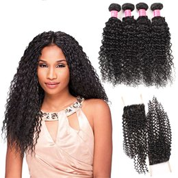 Wholesale Cheap Good Hair Extensions - Factory Price 8A Mink Brazilian Curly Wave 4 Bundles With 4*4 Lace Closure Free Middle Three Part Good Cheap Virgin Human Hair Extensions