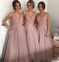 Wholesale Bridesmaid Discount - 2018 Modest Cheap A Line Hi Low V Neck Beaded Long Bridesmaid Dresses Discount Satin Party Prom Dresses Maid Honor Dresses