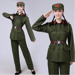 Argentina Traje verde del ejército rojo del ejército del guerrero rendimiento femenino desgaste de la mascarada de ropa militar uniformes para mujeres etapa ópera china desgaste supplier red army uniforms Suministro
