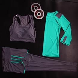 Wholesale Yoga Bra Xxl - 3 pcs Professional Yoga Set Quick Dry Workout Sport Suit Tights Sexy Yoga Leggings Pants+Top+Bra Gym Clothes Tracksuit For Women