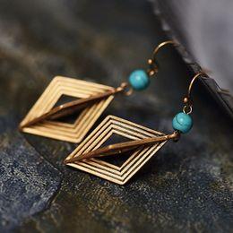 Wholesale Jewelry Pendant Hooks - Jewelry Geometry Pendant Earrings Europe and America Retro Fine Gold Ear Hook Fashion Temperament Ms. Wholesale Spot 2 Color