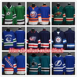 c43d4d52e77 Men s Dallas Stars New York Islanders Rangers Minnesota Wild Columbus Blue  Giacche Green hockey Maglie Blank Colore sfumato Cuciture loghi