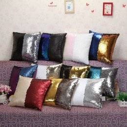 Wholesale Colorful Pillows - Sequin Mermaid Pillow Cushion Cover Two Tone Magical Throw Pillow Case Colorful Decorative Sofa Car Pillows Cover DIY 38 Designs AAA61