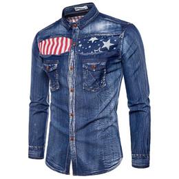 camisas de bolso duplo homens Desconto Moda Europa Camisa Mistura De Algodão Com Decote Em V Bordado Polo Camisa Masculina de Bolso Dos Homens Casual Longo-Sleeved Camisa Denim