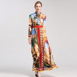 Più retro modello di formato online-S-4XL Plus Size Runway da donna stile Maxi Long Vintage Dress Bow Collar Retro Pattern Stampa Bohemian Autumn Quality Dress