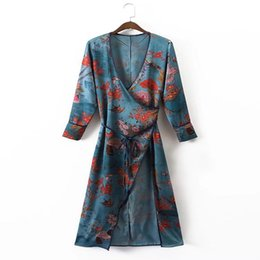 Wholesale Women Velvet Blouse - Vintage Elegant Floral Print Sashes Velvet Kimono Vestido Longo Women 2017New Fashion Cardigan V-Neck Long Sleeve Blouses Casual