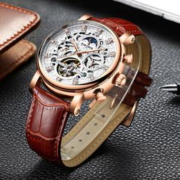 Calendario meccanico della luna online-KINYUED Moon Phase Skeleton meccanico orologio da uomo in oro rosa business maschile orologi meccanici calendario perpetuo mannen