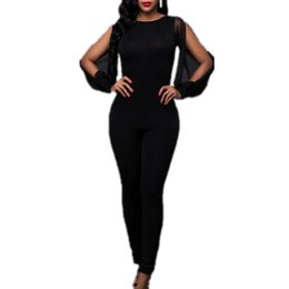 Vestito sexy del partito nero online-Tute da donna Hot Sexy Women Skinny Backless Black Mesh Off Shoulder Evening Party Tute da donna Pagliaccetto Playsuit