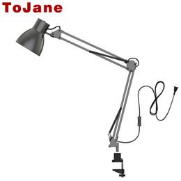 Illuminazione del braccio oscillante online-TG801 Long Swing Arm Lampada da tavolo Lampada da tavolo Ufficio Led Lampada da lettura Home Lampe Bureau Led Desk Lamp Clip