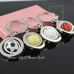 Wholesale Tennis Ball Keychain - 10pcs Lot 3D Sports Keychain Rotating Basketball Soccer Golf Tennis Ball Keyring Key Chain Ring Keyfob Key Holder