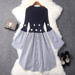 Wholesale Works Bell - Women's one-piece sweater dress Early spring handmade hard workmanship knitted panelled dress with beading Mid length slim spring dress