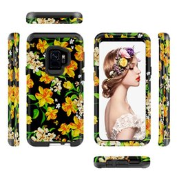 Wholesale armor painting - Flamingo Flower Hybrid Armor Case For Samsung Galaxy S9 Plus J3 J7 Iphone 8 7 Plus I8 I7 Fashion Painting TPU PC Protective Skin Cover 7pcs
