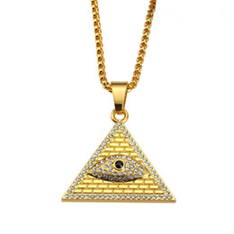 Wholesale Mens Gold Filled Snake Chains - Mens Geometric Pendant Necklaces Eye Design Full Crystal Rock Micro Hip Hop Fashion Jewelry Necklace With Mens 75cm Long Chains
