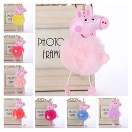 rex rabbit regalos Rebajas Faux Fur Pom Pom Keychain Llaveros al por mayor 9 estilo Imitación Rex Conejo Fur Pig Keychains para Gilrs Businese Gifts