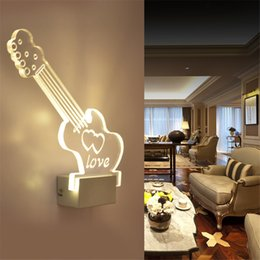 3D Guitar Led Wall Lamp 3D Night Light In Living Room Art Decor For Home  Special