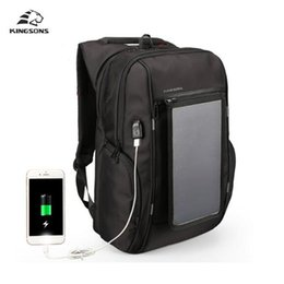 Wholesale Backpack Solar - Kingsons Solar Panel Backpacks 15.6 inches Convenience Charging Laptop Bags for Travel Solar Charger Daypacks free shipping